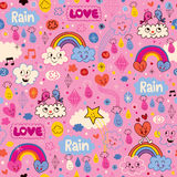 Clouds rainbows birds rain love hearts cartoon pattern Royalty Free Stock Photography