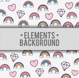 Clouds rainbows hearts diamonds background design Royalty Free Stock Photos