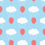 Clouds with raindrops and flying balloons. Children`s seamless pattern. Cartoon vector illustration. Blue, white, pink Stock Photo
