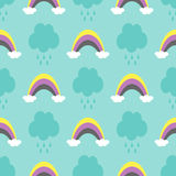 Clouds with raindrops and rainbows. Cute seamless pattern for children. Blue, white, yellow, purple, black colour. Vector illustration Stock Images