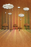 Clouds with raindrops and umbrellas, paper texture Royalty Free Stock Image