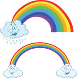 Clouds Raining With Rainbow Cartoon Characters  Collection Set Stock Image