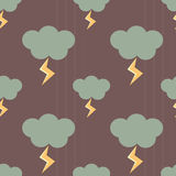 Clouds in a rainy day with lightnings seamless pattern background illustration Stock Photography