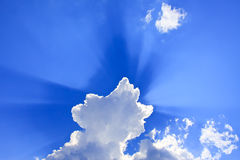 Clouds with rays Stock Photo