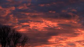 Clouds, red, grey, twilight. Red and grey clouds, twilight, landscape stock footage