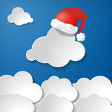 Clouds With Red Santa Claus Hat Royalty Free Stock Image