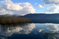 Clouds reflected in a blue lake Royalty Free Stock Photo