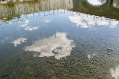 Clouds reflected in the river water Stock Photo