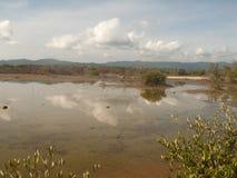 Unare lagoon coastal wetland in Venezuela. Clouds reflected in wetlands of Unare Lagoon Ramsar site in Anzoategui Venezuela royalty free stock photos
