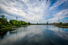 Clouds reflecting in the Piscataqua River, in Portsmouth, New Ha. Mpshire Stock Photos