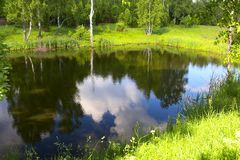 Clouds reflection. Pleasant day off near the forest lake royalty free stock photography