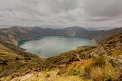 Clouds Reflection In The Clear Quilotoa Crater Lake Royalty Free Stock Photo