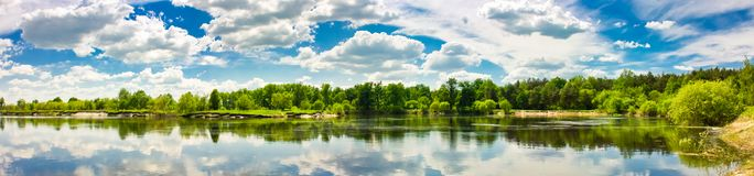 Clouds reflection on lake. Stock Image
