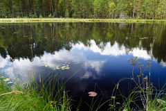 Clouds reflection in the lake near national park Stock Image