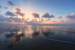 Clouds reflections on beach Royalty Free Stock Photos