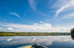 View from a boat on a lake in wild Russian land. stock images