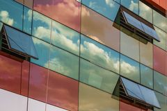Clouds Reflections on Skyscraper Facade Royalty Free Stock Image