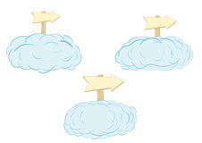 Clouds with road signs Royalty Free Stock Image