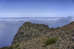 Clouds and rocks at pico arieiro on madeira island Stock Photo