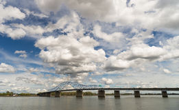 Clouds Roll Fast Past Pioneer Memorial Bridge Columbia River Ken Royalty Free Stock Images