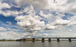 Clouds Roll Fast Past Pioneer Memorial Bridge Columbia River Ken Royalty Free Stock Images