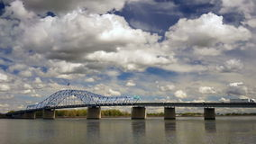 Clouds Roll Fast Past Pioneer Memorial Bridge and the Columbia River Kennewick Washington stock footage