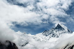 Clouds a rolling in. Annapurna base camp prey flags nepal Stock Images
