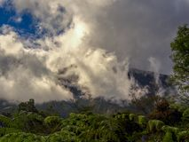 Clouds rolling down from the top of Iguaque royalty free stock photos