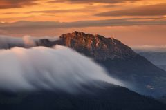 CLouds rolling over Udalaitz mountain Basque Country Royalty Free Stock Images