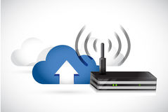Clouds and router illustration design Stock Photos