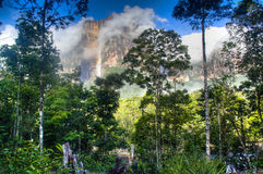 Clouds at Salto Angel in the national park of Canaima Royalty Free Stock Images