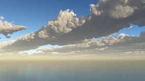 Clouds Sea Aerial. A pretty erial view over rows of cumulus clouds over the ocean sea stock illustration