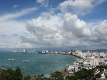 Clouds and sea. Big city at Pattaya, Thailand royalty free stock photos