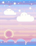 Clouds, sea, sunrise,mountains, stars ,sky. The illustration shows the color transition from blue to red. Can be used in the design of children's room or album Stock Photography