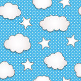 Clouds seamless pattern. Cute clouds and stars seamless pattern