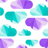 Clouds seamless pattern. Retro cloud seamless pattern with rain,  background made of triangles. Square composition with geometric shapes Royalty Free Stock Photo
