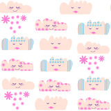 Clouds seamless pattern and seamless pattern in swatch menu, vec. Tor  image Stock Photography