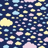 Pastel color of clouds seamless pattern background stock illustration