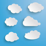 Clouds Set Blue Background Stock Photos