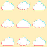 Clouds set with colored edges and icons for cloud computing for. App and web. vector illustration Stock Image