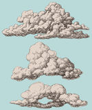 Clouds set. Detailed vintage style clouds  set Royalty Free Stock Photos