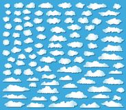 100 clouds set. Different cloud shapes on blue background royalty free illustration