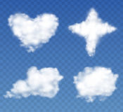 Clouds Set in the form of Heart, Cross, Ball on a transparent blue sky. Vector collection. Royalty Free Stock Image