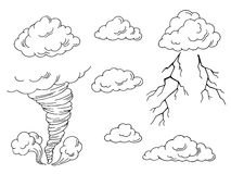 Clouds set graphic tornado lightning art black white isolated illustration Stock Photo