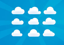 Clouds Set. Set of 9 clouds and sky backgrounds. EPS file is available for the backgrounds and also for the sun and clouds Royalty Free Stock Photography