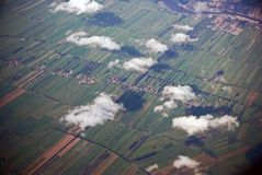 Clouds with shadows. Aerial shot of clouds with shadows on the ground Royalty Free Stock Photo