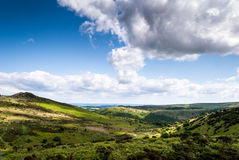 Clouds. shadows and mountains. Scenic landscape view of Cambrian Mountains, Wales, UK Stock Photos