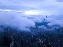 Through the clouds of Shanghai skyscrapers,4k timelapse stock footage