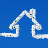 Clouds in shape of home icon Stock Images