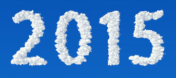 Clouds in shape of numbers 2015. On a blue background Royalty Free Stock Photography